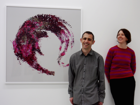 Vicky Isley & Paul Smith of boredomresearch with 'Lost Flight Plume', 2013. DAM Gallery, Berlin.
